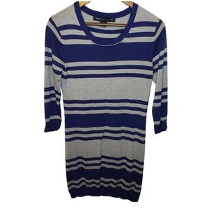 French Connection Navy Blue Striped Sweater Dress